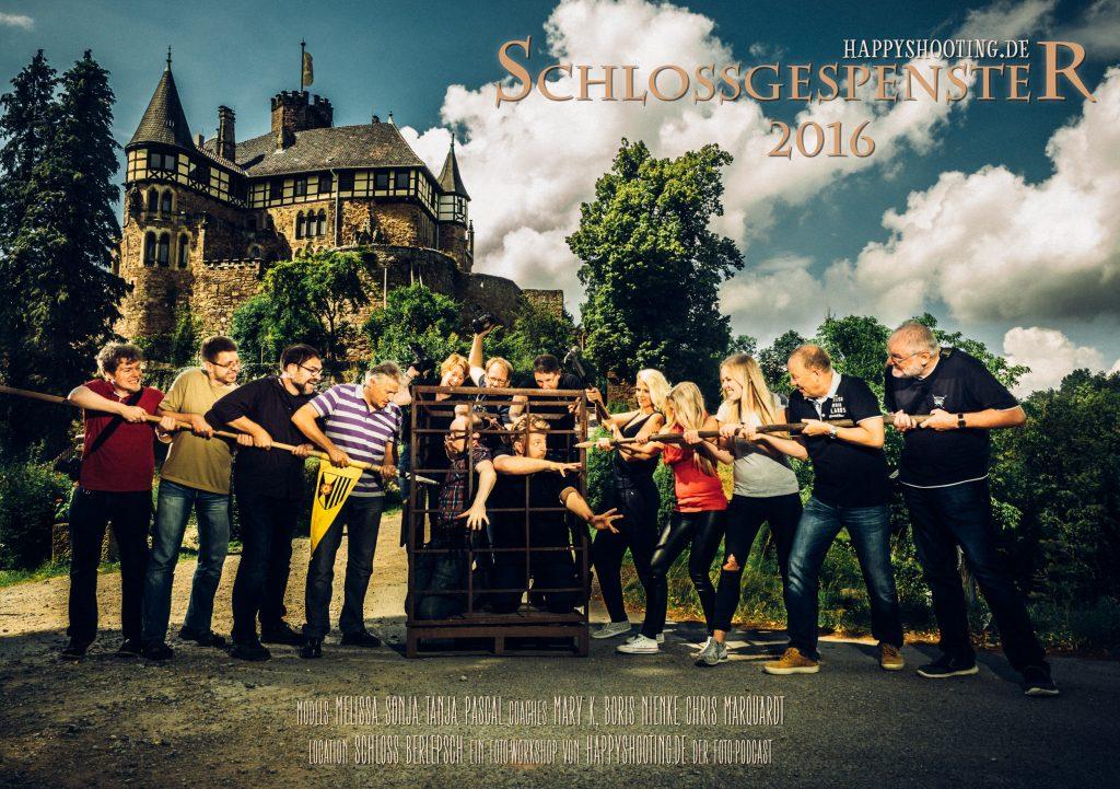 Gruppenbild vom Happyshooting Foto-Workshop auf Schloss Berlepsch – Schlossgespenster 2016